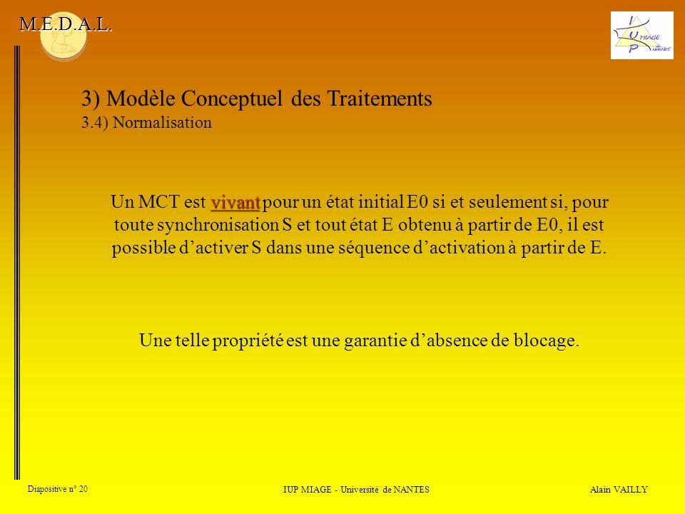 Alain VAILLY Diapositive n° 20 3) Modèle Conceptuel des Traitements 3.4) Normalisation IUP MIAGE - Université de NANTES M.E.D.A.L. vivant Un MCT est v