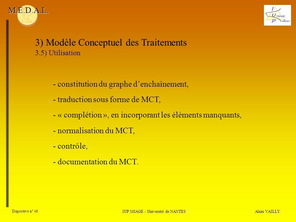 Alain VAILLY Diapositive n° 46 3) Modèle Conceptuel des Traitements 3.5) Utilisation IUP MIAGE - Université de NANTES M.E.D.A.L. - « complétion », en
