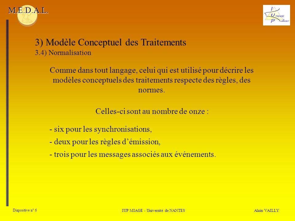 Alain VAILLY Diapositive n° 6 3) Modèle Conceptuel des Traitements 3.4) Normalisation IUP MIAGE - Université de NANTES M.E.D.A.L. Comme dans tout lang