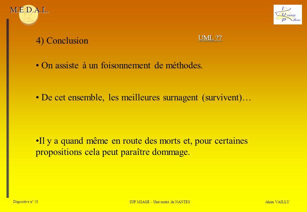 Alain VAILLY Diapositive n° 18 4) Conclusion IUP MIAGE - Université de NANTES M.E.D.A.L. On assiste à un foisonnement de méthodes. UML ?? De cet ensem