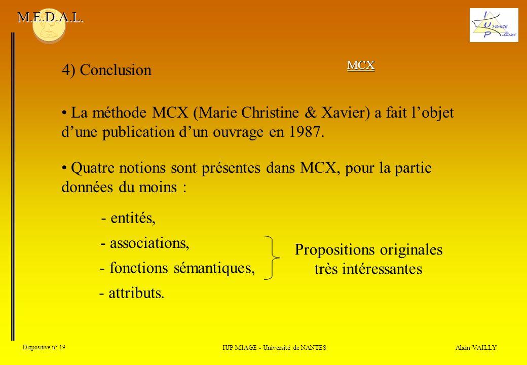 Alain VAILLY Diapositive n° 19 4) Conclusion IUP MIAGE - Université de NANTES M.E.D.A.L. La méthode MCX (Marie Christine & Xavier) a fait lobjet dune