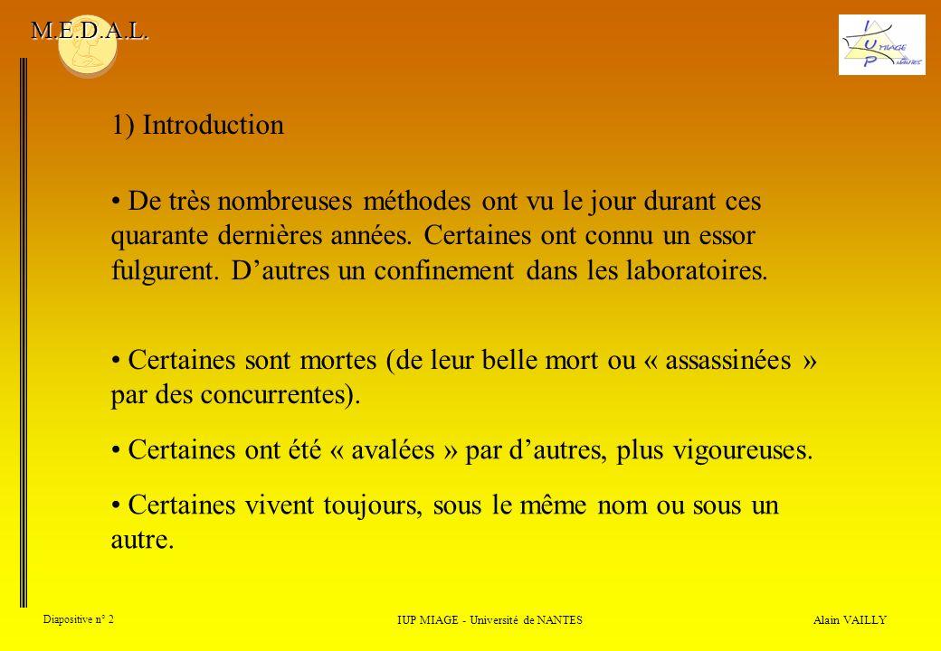 Alain VAILLY Diapositive n° 13 3) Évolution des méthodes IUP MIAGE - Université de NANTES M.E.D.A.L.