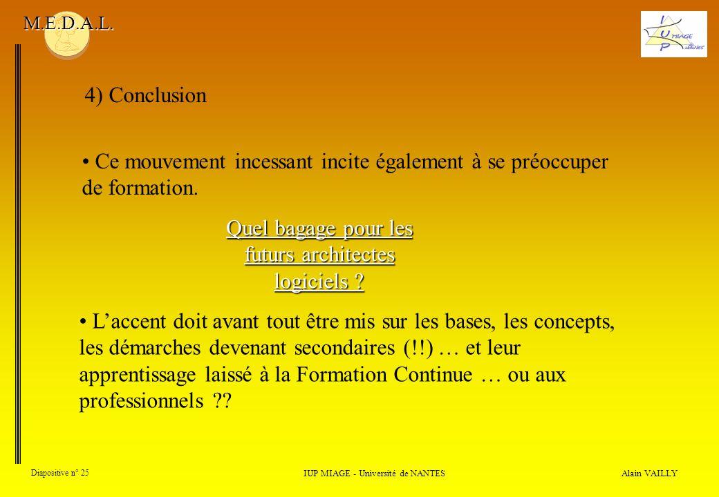 Alain VAILLY Diapositive n° 25 4) Conclusion IUP MIAGE - Université de NANTES M.E.D.A.L. Ce mouvement incessant incite également à se préoccuper de fo