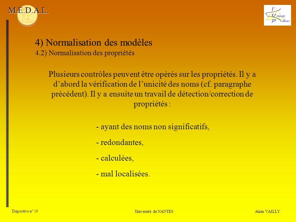 Alain VAILLY Diapositive n° 19 Université de NANTES M.E.D.A.L. 4) Normalisation des modèles 4.2) Normalisation des propriétés Plusieurs contrôles peuv