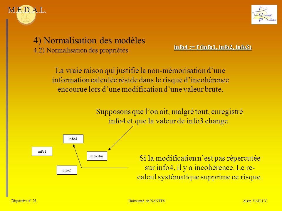Alain VAILLY Diapositive n° 26 Université de NANTES M.E.D.A.L. 4) Normalisation des modèles 4.2) Normalisation des propriétés La vraie raison qui just