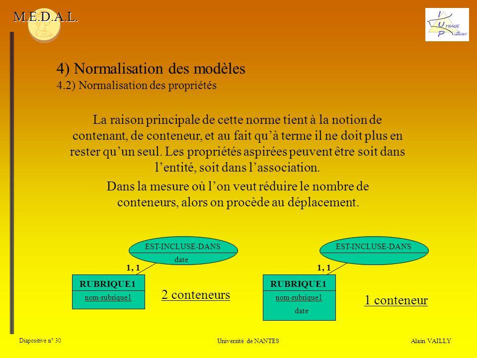 Alain VAILLY Diapositive n° 30 Université de NANTES M.E.D.A.L. 4) Normalisation des modèles 4.2) Normalisation des propriétés La raison principale de