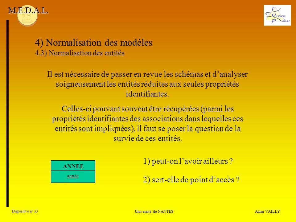 Alain VAILLY Diapositive n° 33 Université de NANTES M.E.D.A.L. 4) Normalisation des modèles 4.3) Normalisation des entités Il est nécessaire de passer