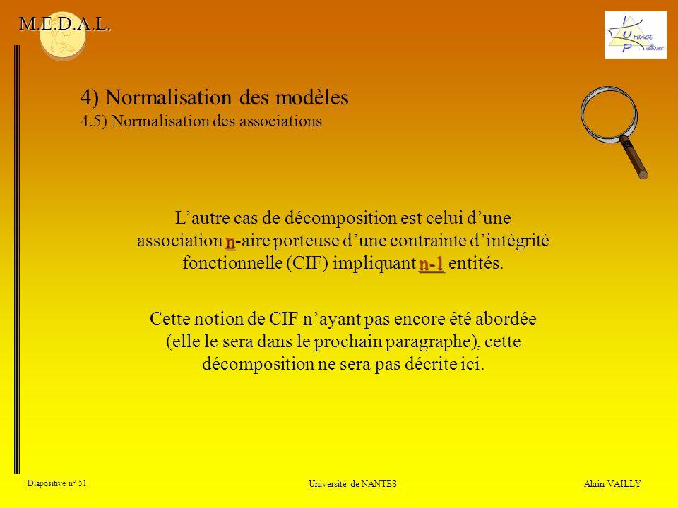 Alain VAILLY Diapositive n° 51 Université de NANTES M.E.D.A.L. 4) Normalisation des modèles 4.5) Normalisation des associations n n-1 Lautre cas de dé