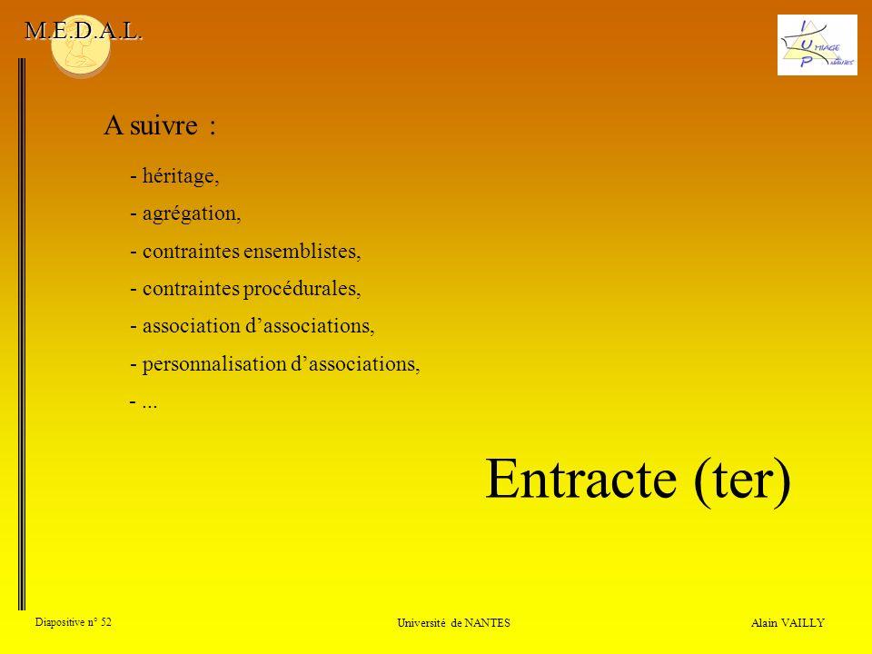 Alain VAILLY Diapositive n° 52 Université de NANTES M.E.D.A.L. A suivre : - contraintes ensemblistes, - contraintes procédurales, - association dassoc