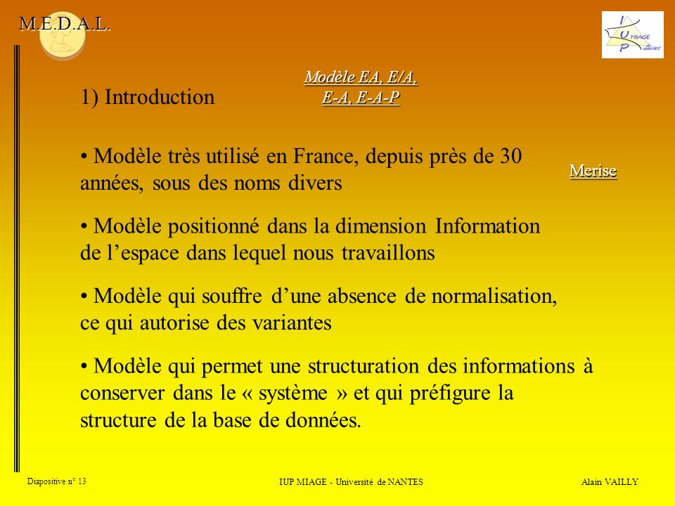 Alain VAILLY Diapositive n° 13 1) Introduction IUP MIAGE - Université de NANTES M.E.D.A.L.
