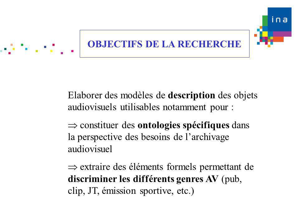 OBJECTIFS DE LA RECHERCHE Elaborer des modèles de description des objets audiovisuels utilisables notamment pour : constituer des ontologies spécifiqu