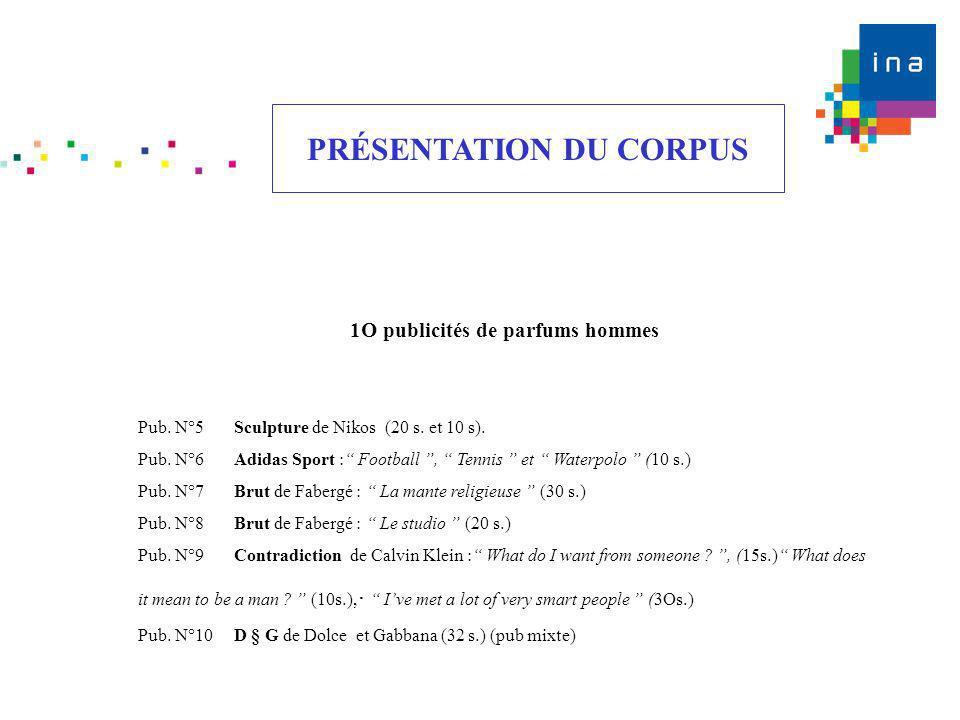 PRÉSENTATION DU CORPUS 1O publicités de parfums hommes Pub. N°5Sculpture de Nikos (20 s. et 10 s). Pub. N°6Adidas Sport : Football, Tennis et Waterpol