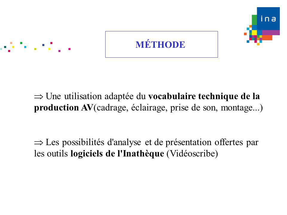 MÉTHODE Une utilisation adaptée du vocabulaire technique de la production AV(cadrage, éclairage, prise de son, montage...) Les possibilités d'analyse