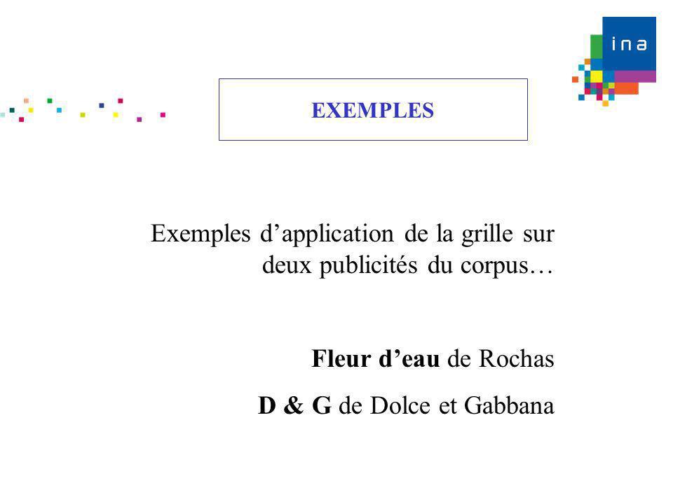 Exemples dapplication de la grille sur deux publicités du corpus… Fleur deau de Rochas D & G de Dolce et Gabbana EXEMPLES