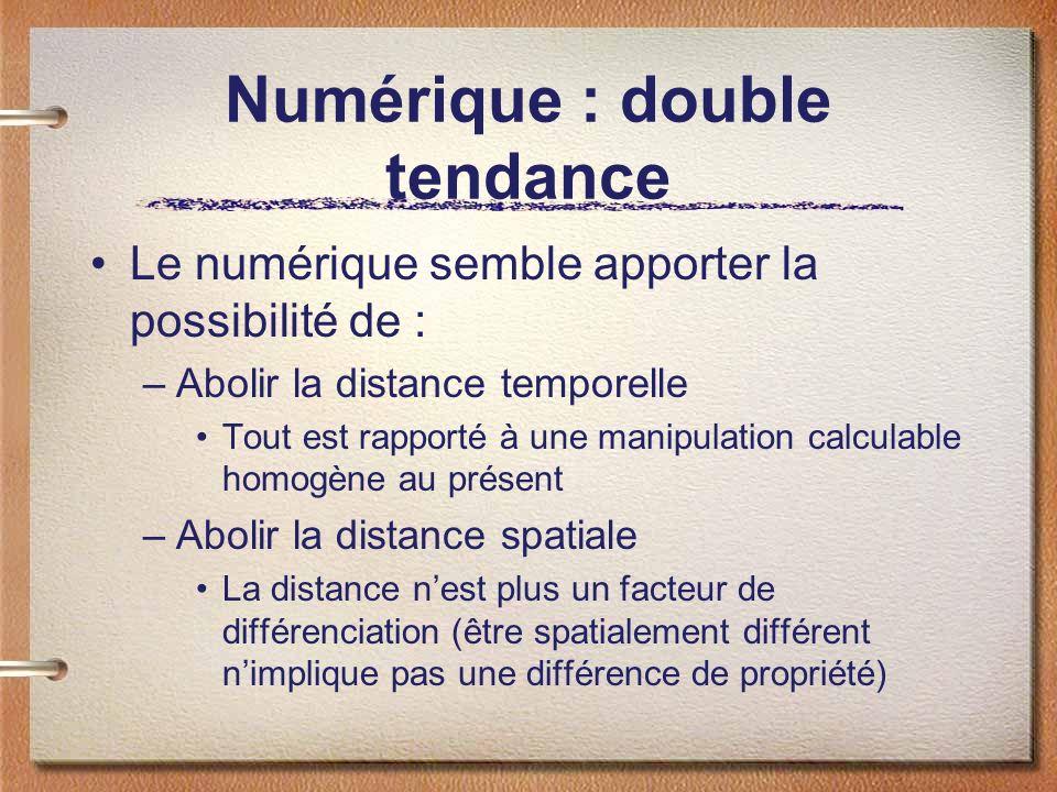 Numérique : double tendance Le numérique semble apporter la possibilité de : –Abolir la distance temporelle Tout est rapporté à une manipulation calculable homogène au présent –Abolir la distance spatiale La distance nest plus un facteur de différenciation (être spatialement différent nimplique pas une différence de propriété)