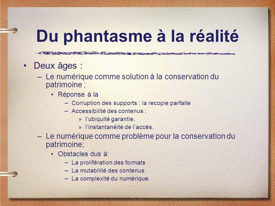 Du phantasme à la réalité Deux âges : –Le numérique comme solution à la conservation du patrimoine ; Réponse à la –Corruption des supports : la recopie parfaite –Accessibilité des contenus : »lubiquité garantie, »linstantanéité de laccès.