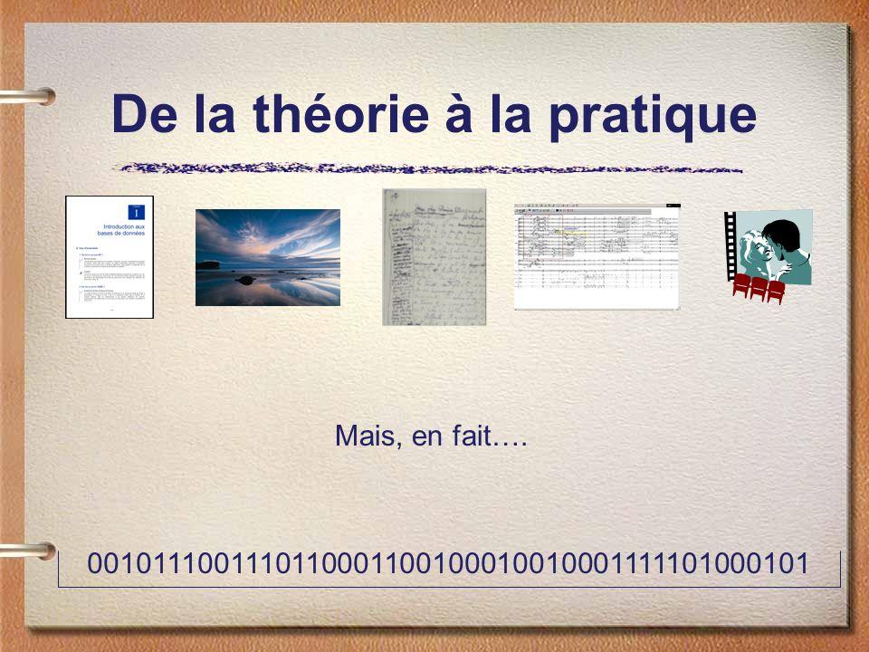 De la théorie à la pratique 0010111001110110001100100010010001111101000101 Mais, en fait….
