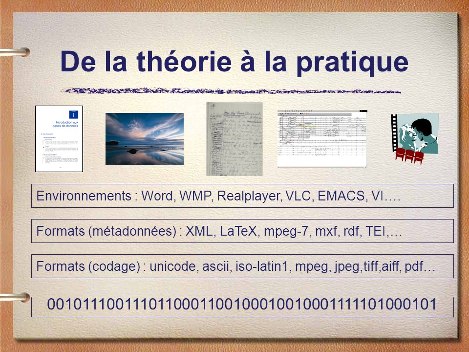 De la théorie à la pratique 0010111001110110001100100010010001111101000101 Formats (codage) : unicode, ascii, iso-latin1, mpeg, jpeg,tiff,aiff, pdf… Formats (métadonnées) : XML, LaTeX, mpeg-7, mxf, rdf, TEI,… Environnements : Word, WMP, Realplayer, VLC, EMACS, VI….