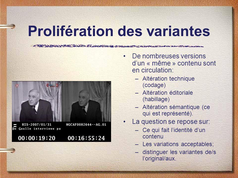 Prolifération des variantes De nombreuses versions dun « même » contenu sont en circulation: –Altération technique (codage) –Altération éditoriale (habillage) –Altération sémantique (ce qui est représenté).