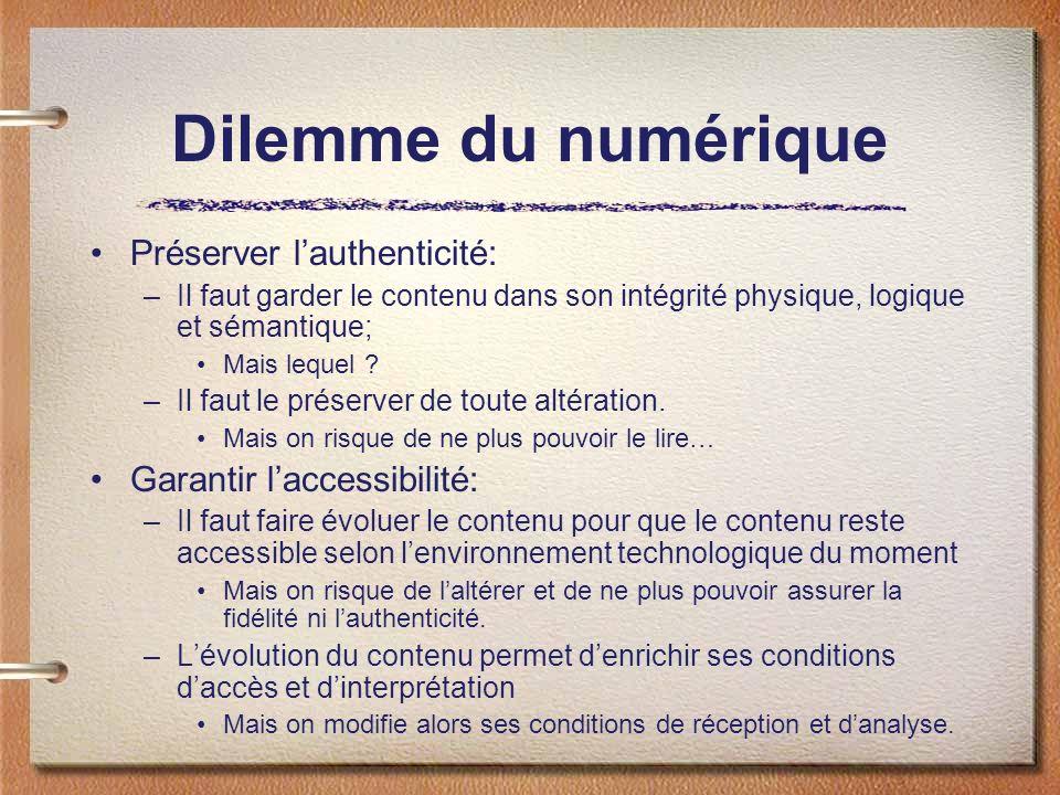 Dilemme du numérique Préserver lauthenticité: –Il faut garder le contenu dans son intégrité physique, logique et sémantique; Mais lequel ? –Il faut le
