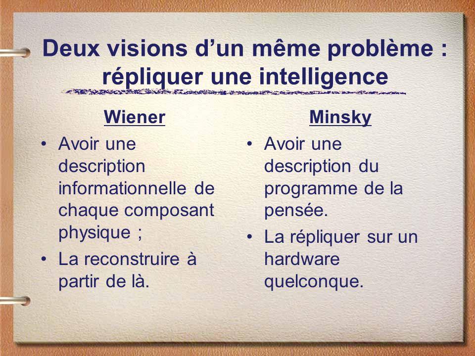 Deux visions dun même problème : répliquer une intelligence Wiener Avoir une description informationnelle de chaque composant physique ; La reconstruire à partir de là.