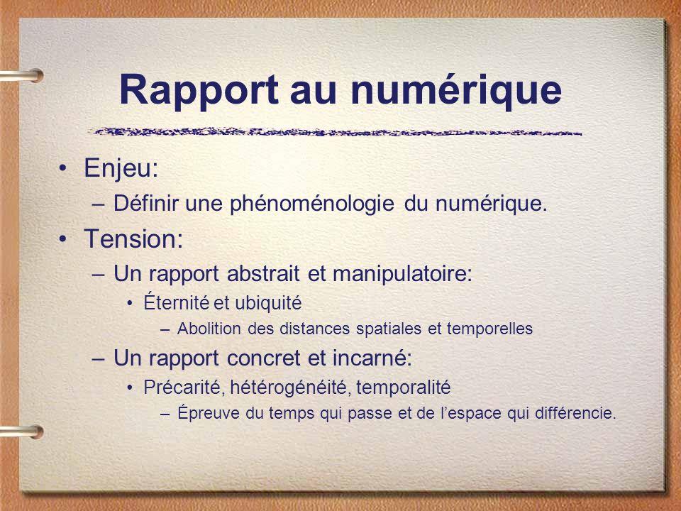 Rapport au numérique Enjeu: –Définir une phénoménologie du numérique.