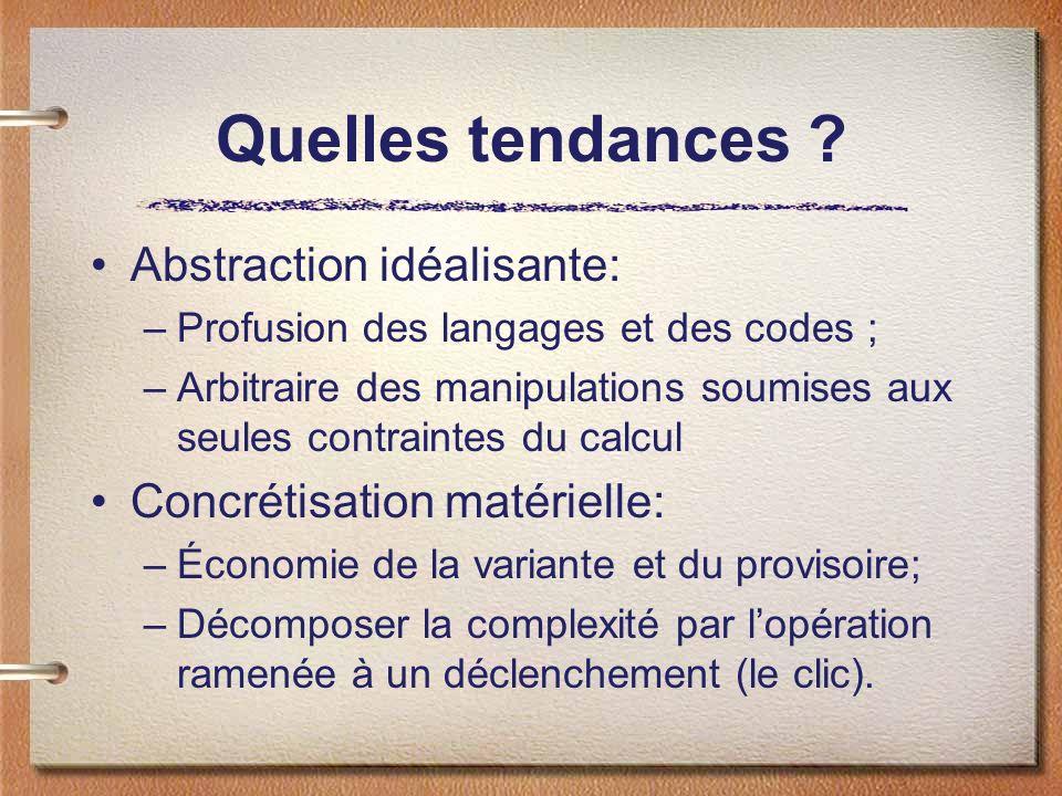 Quelles tendances ? Abstraction idéalisante: –Profusion des langages et des codes ; –Arbitraire des manipulations soumises aux seules contraintes du c