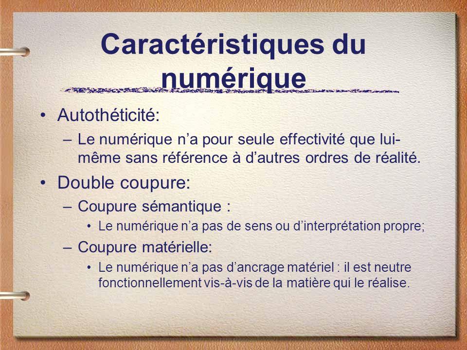 Caractéristiques du numérique Autothéticité: –Le numérique na pour seule effectivité que lui- même sans référence à dautres ordres de réalité. Double