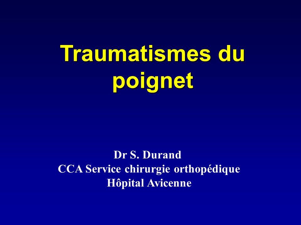 Luxation périlunaire du carpe Diagnostic: Impotence fonctionnelle du poignet, douleur Importantes (territoire du médian) Poignet oedématié.
