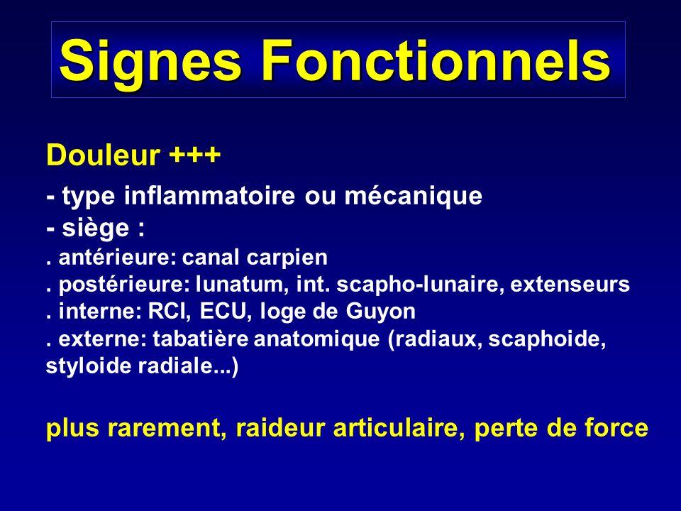 Signes Fonctionnels Douleur +++ - type inflammatoire ou mécanique - siège :. antérieure: canal carpien. postérieure: lunatum, int. scapho-lunaire, ext