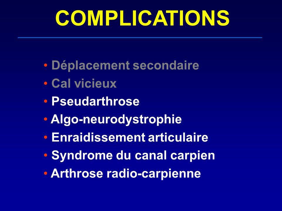 COMPLICATIONS Déplacement secondaire Cal vicieux Pseudarthrose Algo-neurodystrophie Enraidissement articulaire Syndrome du canal carpien Arthrose radi
