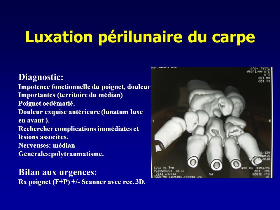 Luxation périlunaire du carpe Diagnostic: Impotence fonctionnelle du poignet, douleur Importantes (territoire du médian) Poignet oedématié. Douleur ex