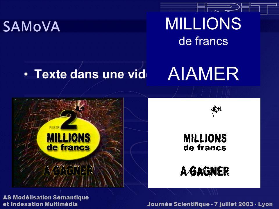 AS Modélisation Sémantique et Indexation Multimédia Journée Scientifique - 7 juillet 2003 - Lyon SAMoVA Texte dans une vidéo