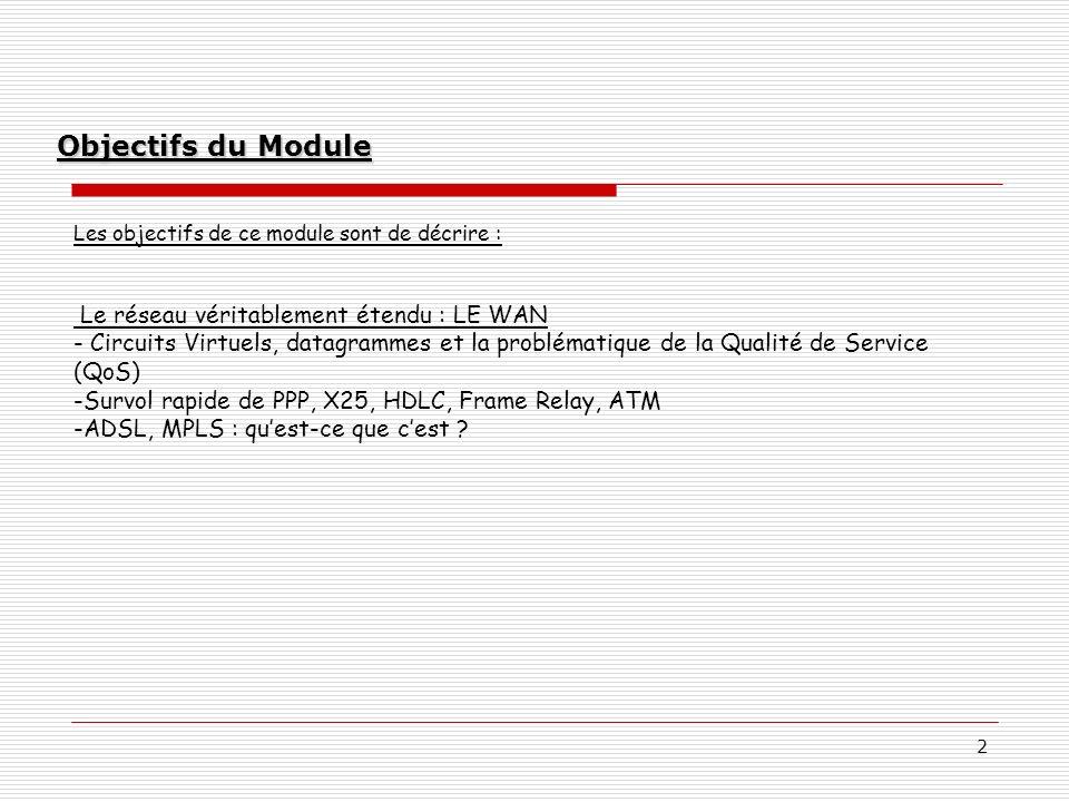 2 Objectifs du Module Les objectifs de ce module sont de décrire : Le réseau véritablement étendu : LE WAN - Circuits Virtuels, datagrammes et la prob