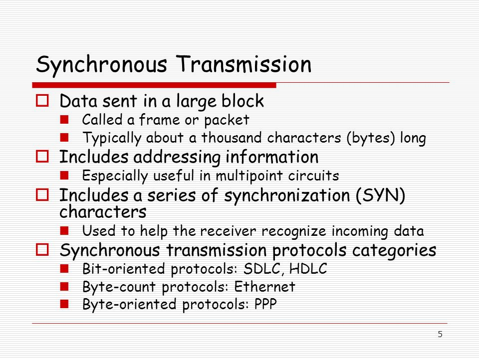 5 Synchronous Transmission Data sent in a large block Called a frame or packet Typically about a thousand characters (bytes) long Includes addressing