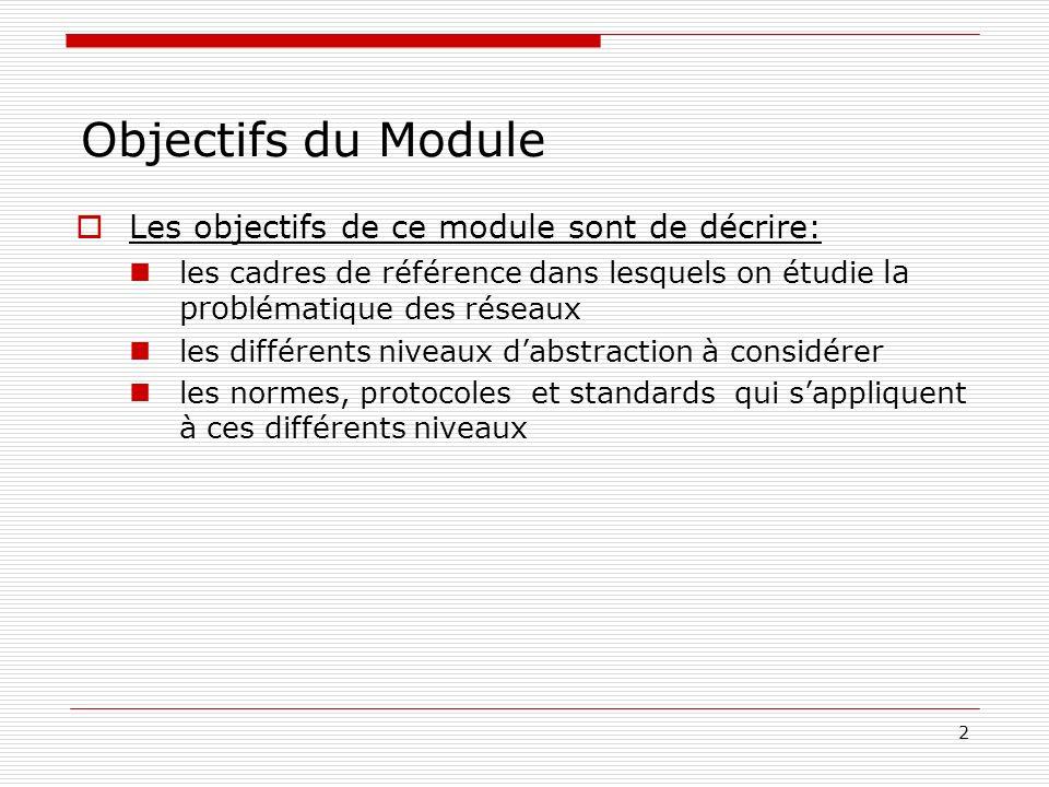 2 Objectifs du Module Les objectifs de ce module sont de décrire: les cadres de référence dans lesquels on étudie la prob lématique des réseaux les di