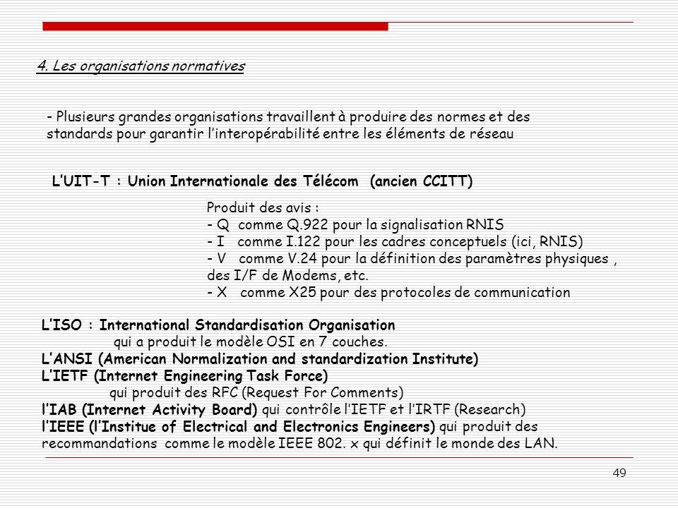 49 4. Les organisations normatives - Plusieurs grandes organisations travaillent à produire des normes et des standards pour garantir linteropérabilit