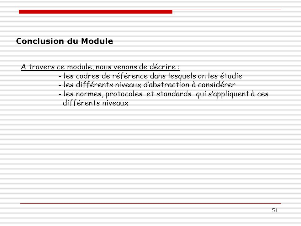 51 Conclusion du Module A travers ce module, nous venons de décrire : - les cadres de référence dans lesquels on les étudie - les différents niveaux d