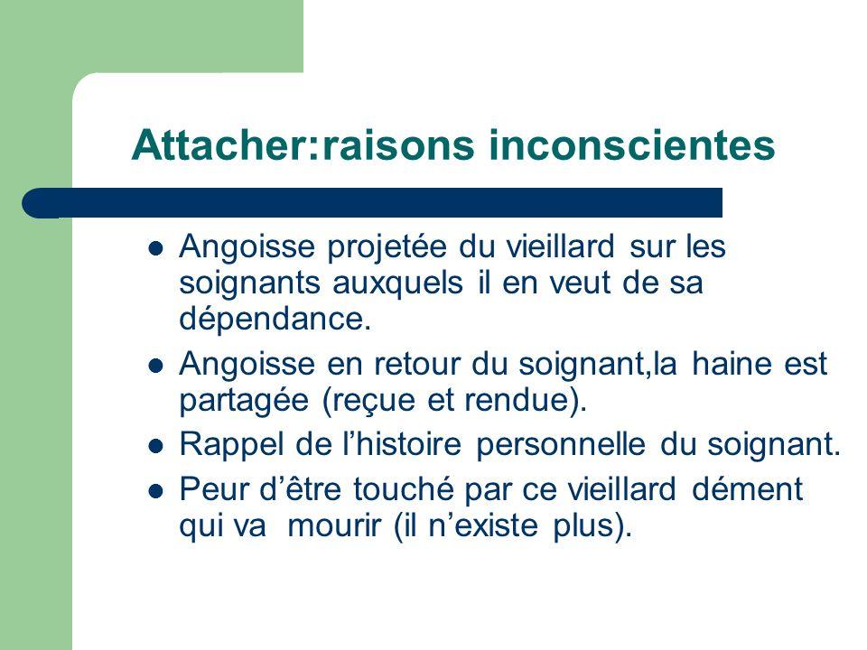 Attacher:raisons inconscientes Angoisse projetée du vieillard sur les soignants auxquels il en veut de sa dépendance.