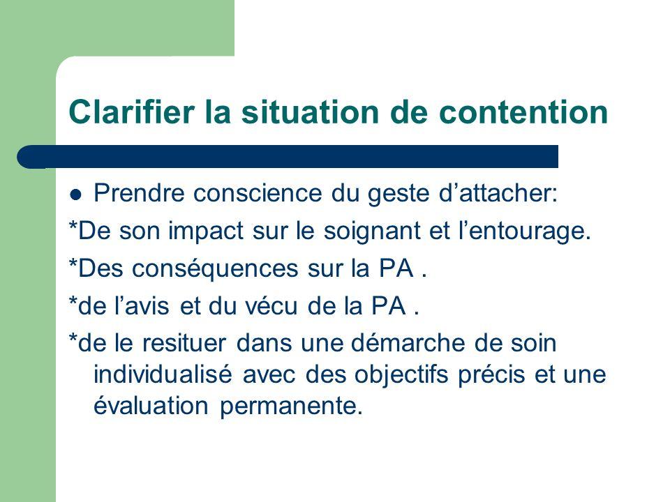 Clarifier la situation de contention Prendre conscience du geste dattacher: *De son impact sur le soignant et lentourage. *Des conséquences sur la PA.