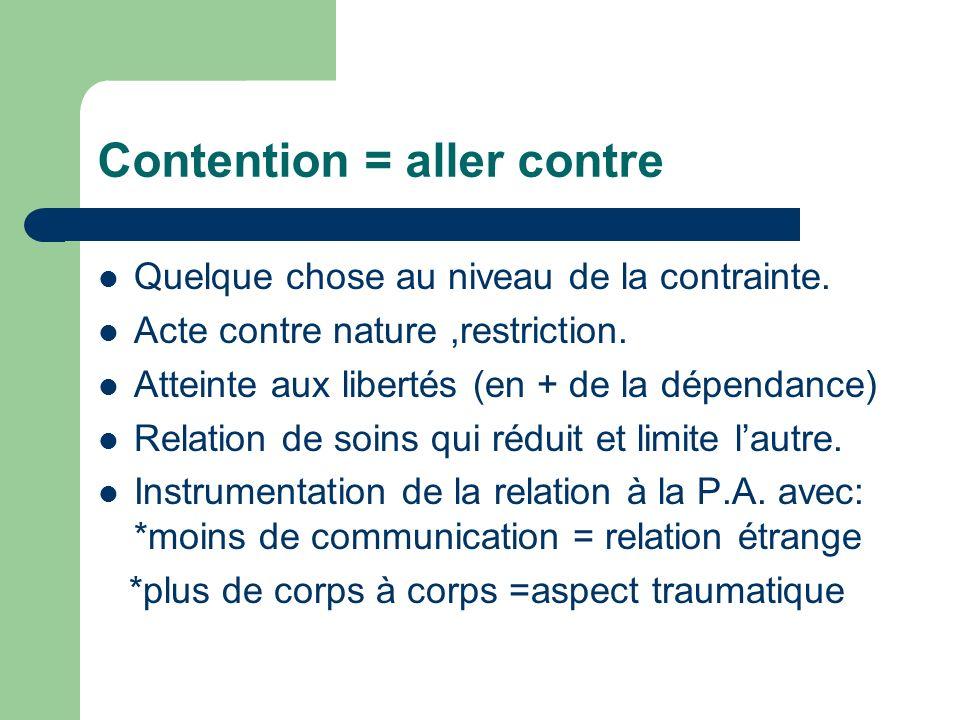 Contention = aller contre Quelque chose au niveau de la contrainte. Acte contre nature,restriction. Atteinte aux libertés (en + de la dépendance) Rela