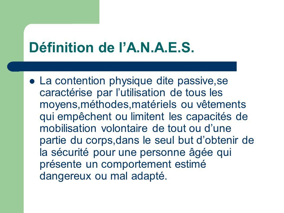 Définition de lA.N.A.E.S. La contention physique dite passive,se caractérise par lutilisation de tous les moyens,méthodes,matériels ou vêtements qui e