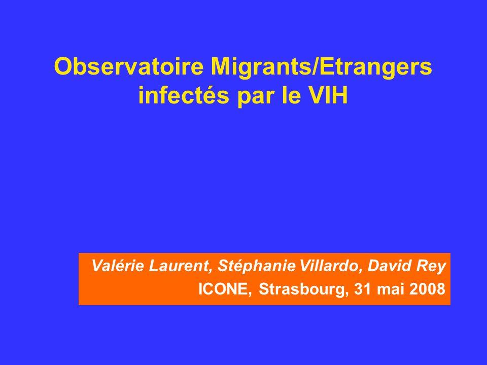 Observatoire Migrants/Etrangers infectés par le VIH Valérie Laurent, Stéphanie Villardo, David Rey ICONE, Strasbourg, 31 mai 2008