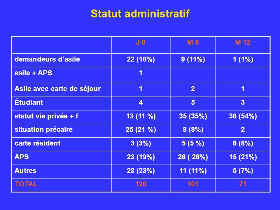 Statut administratif J 0M 6M 12 demandeurs dasile22 (18%)9 (11%)1 (1%) asile + APS1 Asile avec carte de séjour121 Étudiant453 statut vie privée + f13 (11 %)35 (35%)38 (54%) situation précaire25 (21 %)8 (8%)2 carte résident3 (3%)5 (5 %)6 (8%) APS23 (19%)26 ( 26%)15 (21%) Autres28 (23%)11 (11%)5 (7%) TOTAL12010171