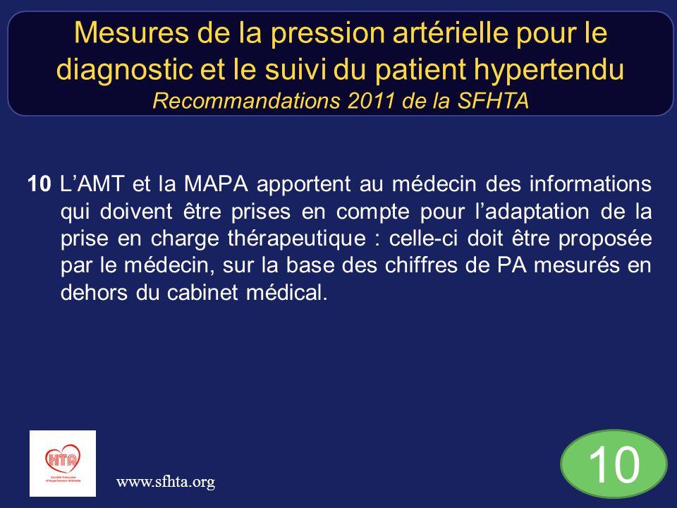 10 LAMT et la MAPA apportent au médecin des informations qui doivent être prises en compte pour ladaptation de la prise en charge thérapeutique : celle-ci doit être proposée par le médecin, sur la base des chiffres de PA mesurés en dehors du cabinet médical.