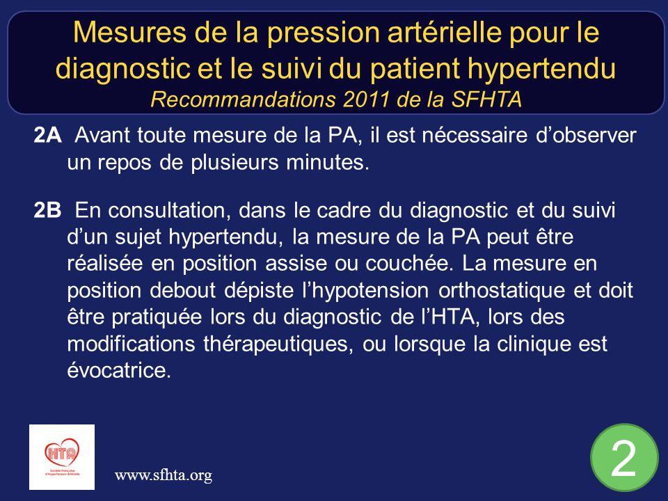 2A Avant toute mesure de la PA, il est nécessaire dobserver un repos de plusieurs minutes. 2B En consultation, dans le cadre du diagnostic et du suivi