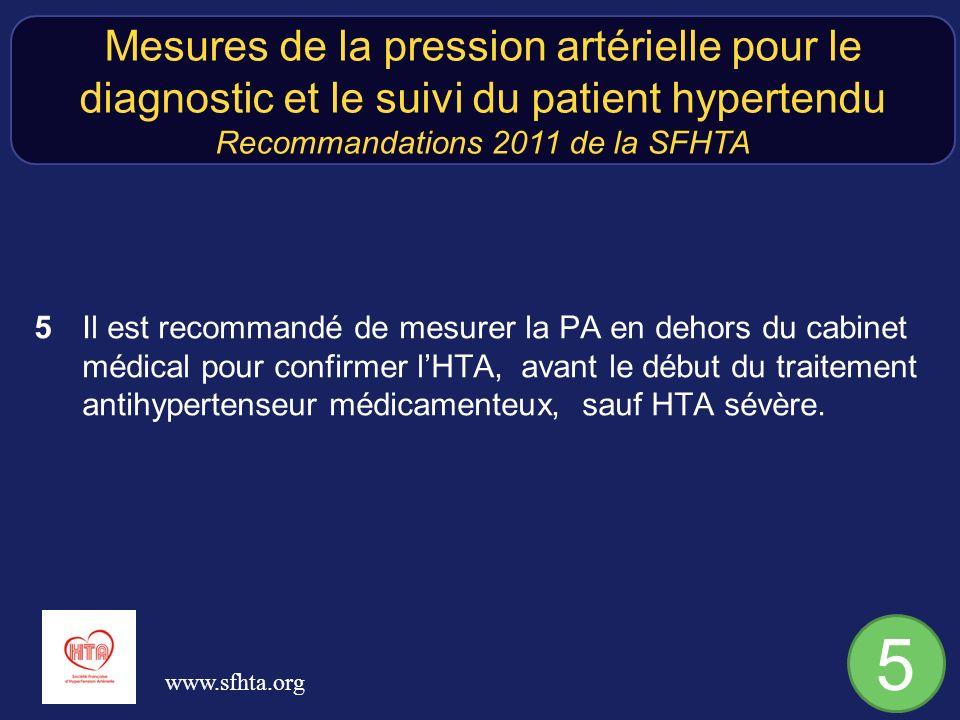 5Il est recommandé de mesurer la PA en dehors du cabinet médical pour confirmer lHTA, avant le début du traitement antihypertenseur médicamenteux, sauf HTA sévère.