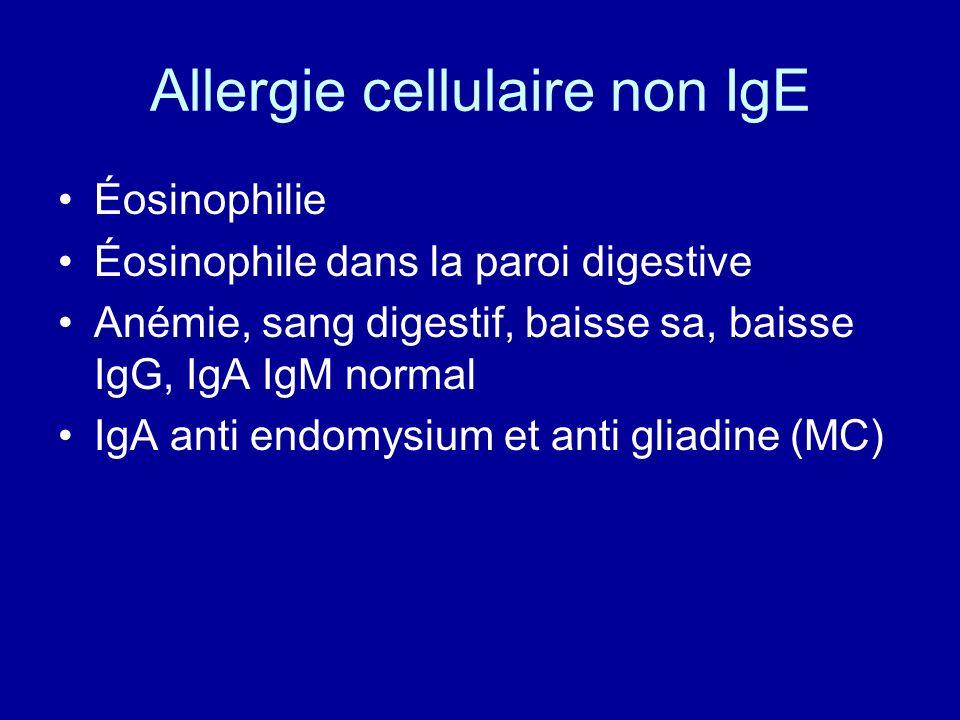 Allergie cellulaire non IgE Éosinophilie Éosinophile dans la paroi digestive Anémie, sang digestif, baisse sa, baisse IgG, IgA IgM normal IgA anti end
