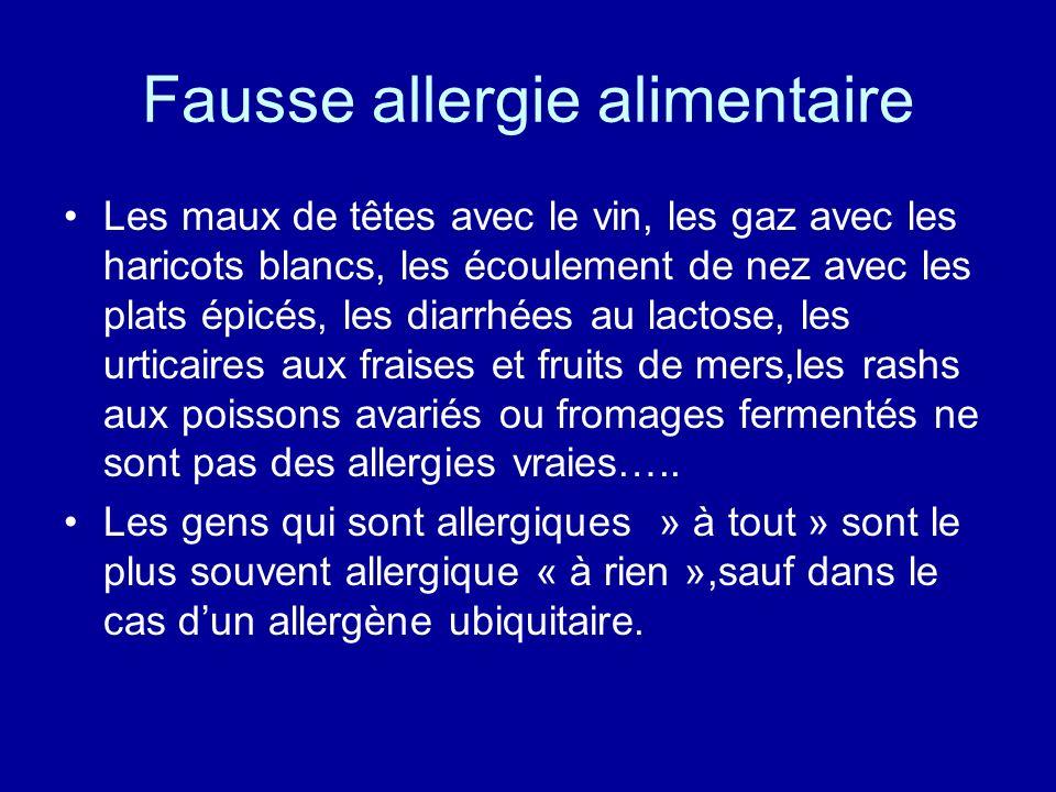 Fausse allergie alimentaire Les maux de têtes avec le vin, les gaz avec les haricots blancs, les écoulement de nez avec les plats épicés, les diarrhée