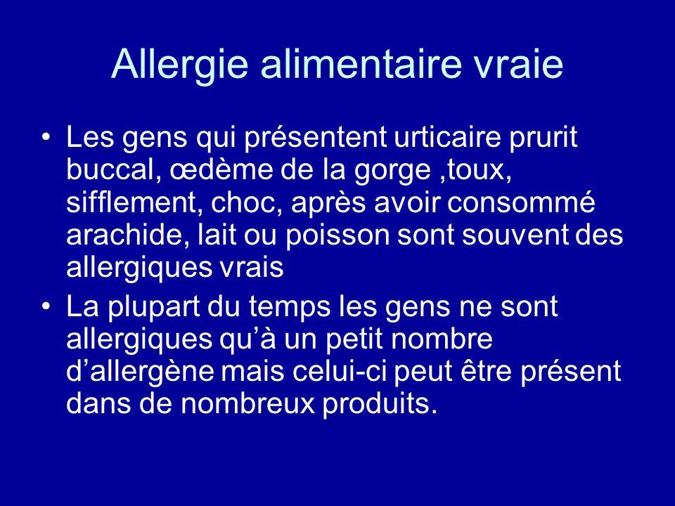 Allergie alimentaire vraie Les gens qui présentent urticaire prurit buccal, œdème de la gorge,toux, sifflement, choc, après avoir consommé arachide, l